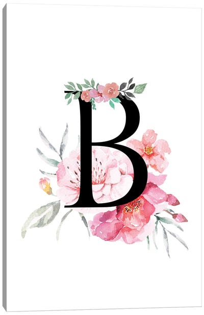 'B' Initial Monogram With Watercolor Flowers Canvas Art Print