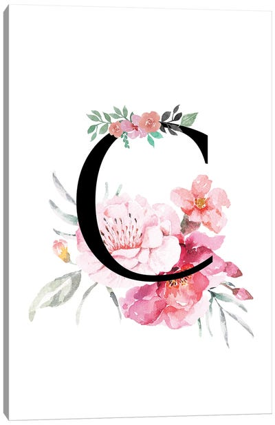 'C' Initial Monogram With Watercolor Flowers Canvas Art Print