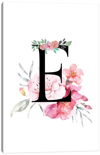 'E' Initial Monogram With Watercolor Flowers Canvas Art Print