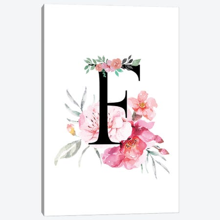 'F' Initial Monogram With Watercolor Flowers Canvas Print #DHV220} by Design Harvest Art Print