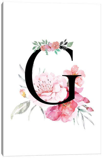 'G' Initial Monogram With Watercolor Flowers Canvas Art Print