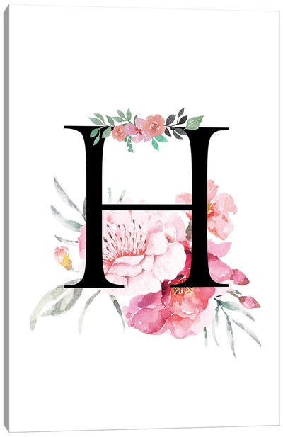 'H' Initial Monogram With Watercolor Flowers Canvas Art Print