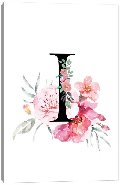 'I' Initial Monogram With Watercolor Flowers Canvas Art Print
