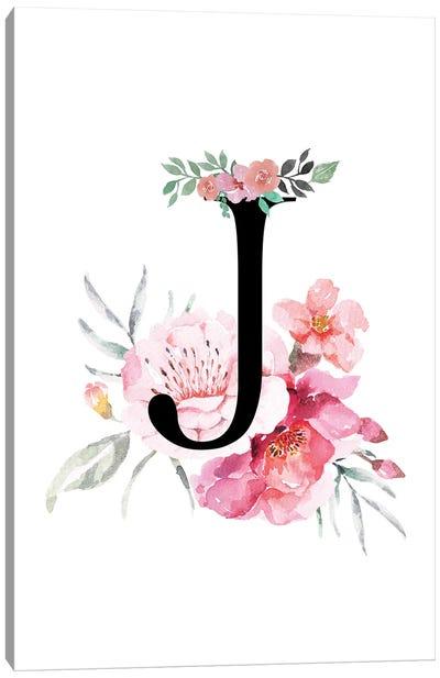 'J' Initial Monogram With Watercolor Flowers Canvas Art Print