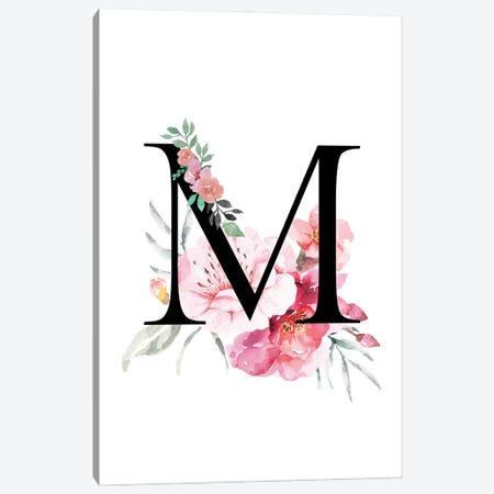 'M' Initial Monogram With Watercolor Flowers Canvas Print #DHV227} by Design Harvest Canvas Artwork