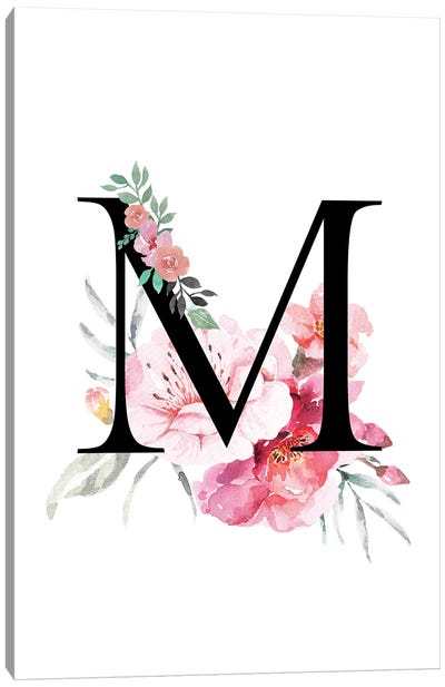 'M' Initial Monogram With Watercolor Flowers Canvas Art Print
