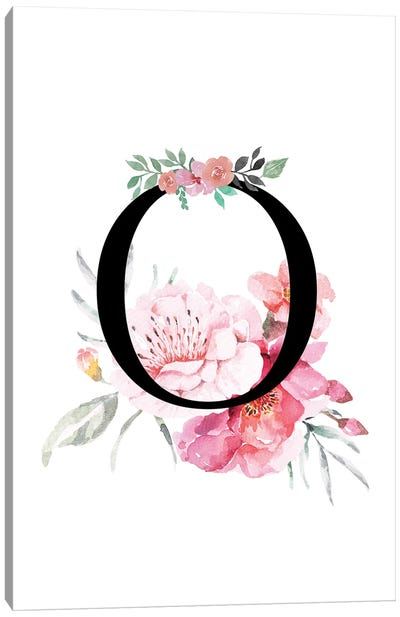'O' Initial Monogram With Watercolor Flowers Canvas Art Print