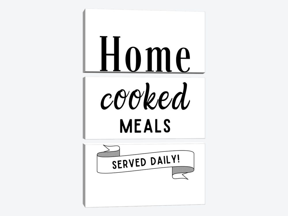 Home Cooked Meals Served Daily Kitchen Quote by Design Harvest 3-piece Canvas Art Print