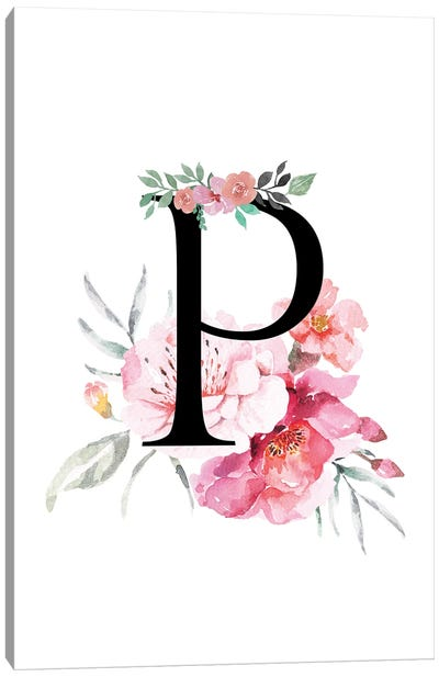 'P' Initial Monogram With Watercolor Flowers Canvas Art Print