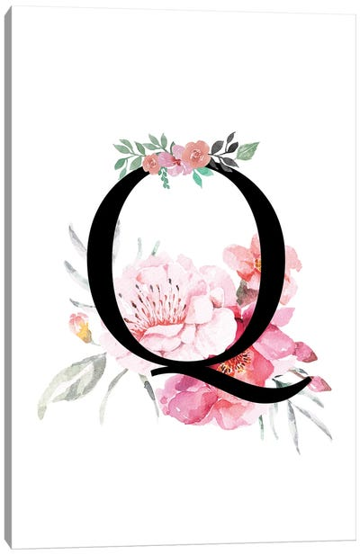 'Q' Initial Monogram With Watercolor Flowers Canvas Art Print