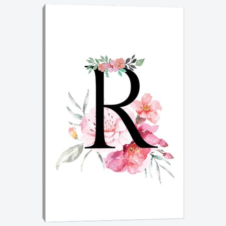 'R' Initial Monogram With Watercolor Flowers Canvas Print #DHV232} by Design Harvest Canvas Wall Art