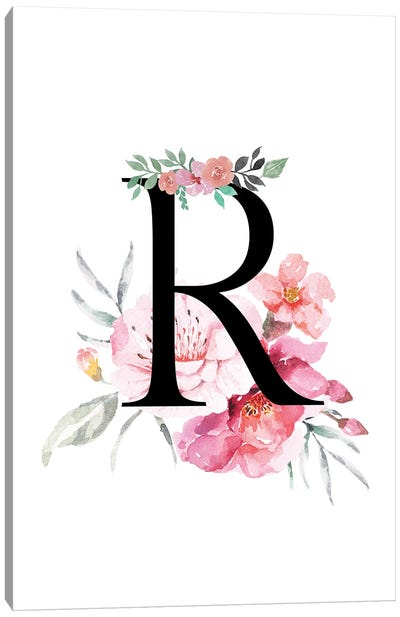 'R' Initial Monogram With Watercolor Flowers Canvas Art Print