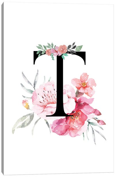 'T' Initial Monogram With Watercolor Flowers Canvas Art Print