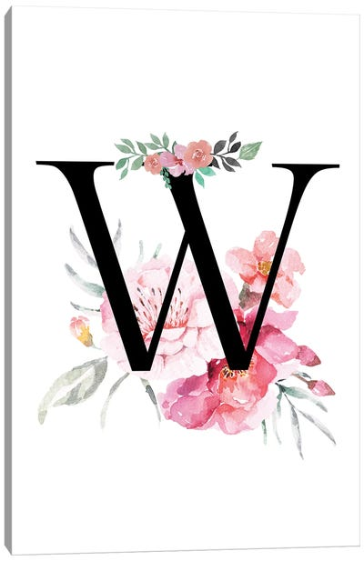 'W' Initial Monogram With Watercolor Flowers Canvas Art Print