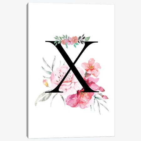 'X' Initial Monogram With Watercolor Flowers Canvas Print #DHV238} by Design Harvest Canvas Art