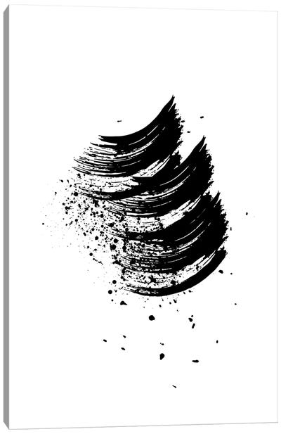 Abstract Black And White Wave Brush Strokes Canvas Art Print
