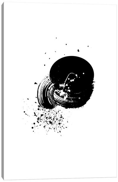 Abstract Black And White Brush Stroke With Paint Splash Canvas Art Print