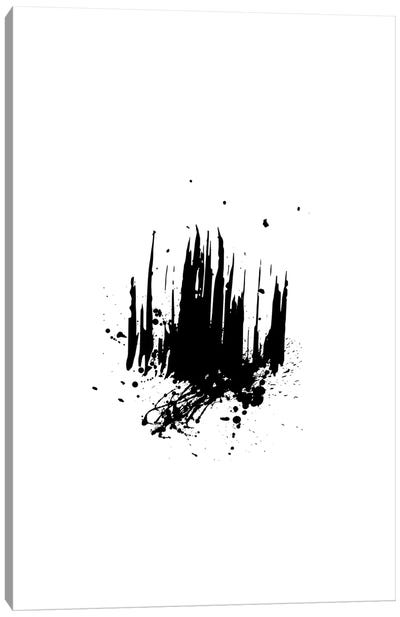 Abstract Black And White Brush Strokes With Paint Splash Canvas Art Print