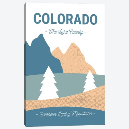 Colorado Rocky Mountains Vintage Abstract Landscape Canvas Print #DHV26} by Design Harvest Canvas Print