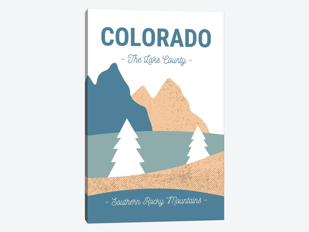 Colorado Rocky Mountains Vintage Abstract Landscape by Design Harvest 1-piece Canvas Art Print