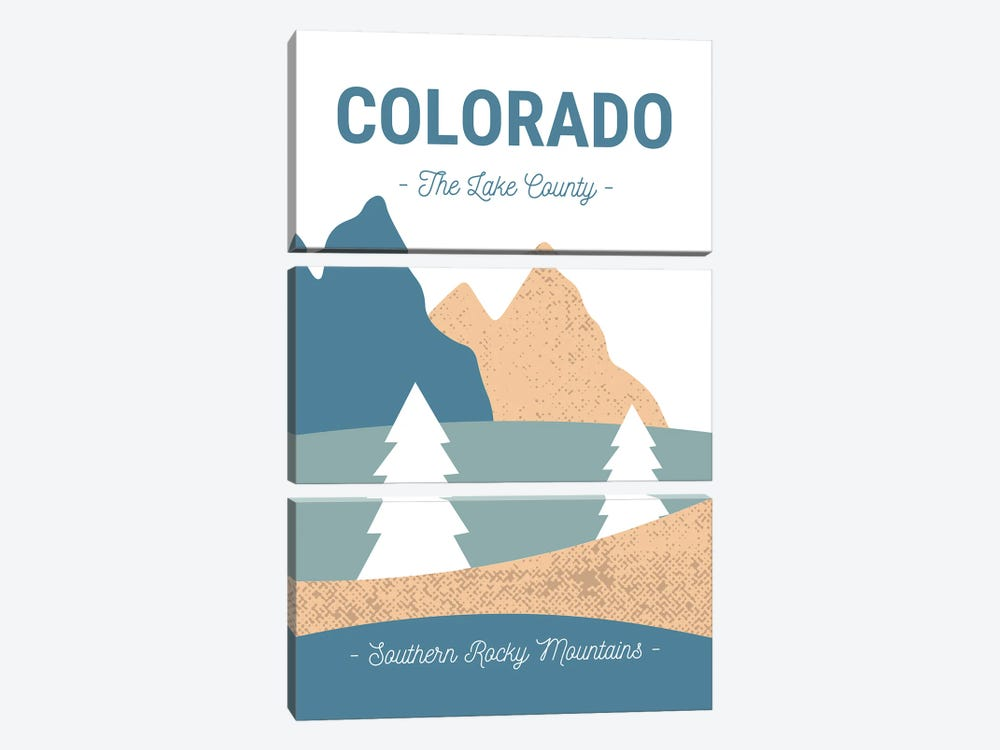 Colorado Rocky Mountains Vintage Abstract Landscape by Design Harvest 3-piece Canvas Art Print