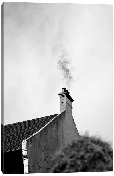 Smoke From A Farmhouse Chimney Minimalist Rustic Photography Canvas Art Print