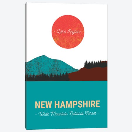 New Hampshire Lake And Forest Vintage Travel Canvas Print #DHV27} by Design Harvest Canvas Print
