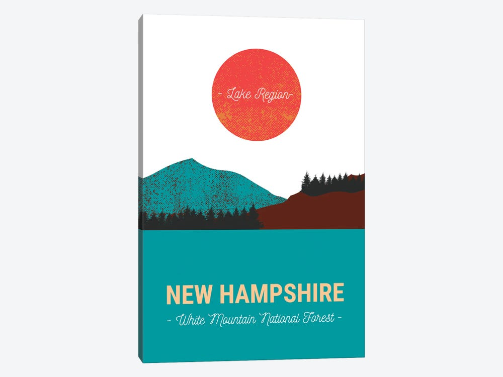 New Hampshire Lake And Forest Vintage Travel by Design Harvest 1-piece Canvas Wall Art