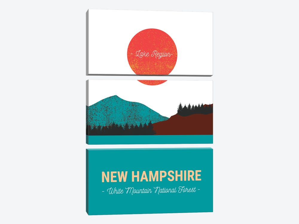 New Hampshire Lake And Forest Vintage Travel by Design Harvest 3-piece Canvas Artwork