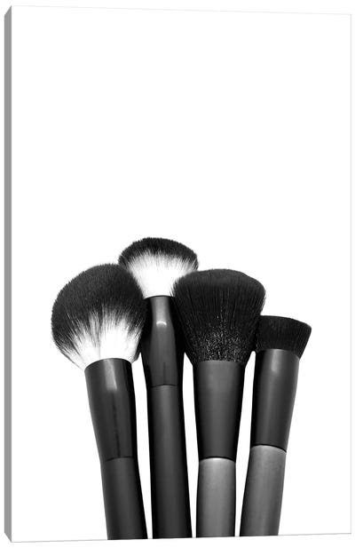 Makeup Brushes In Black And White Canvas Art Print
