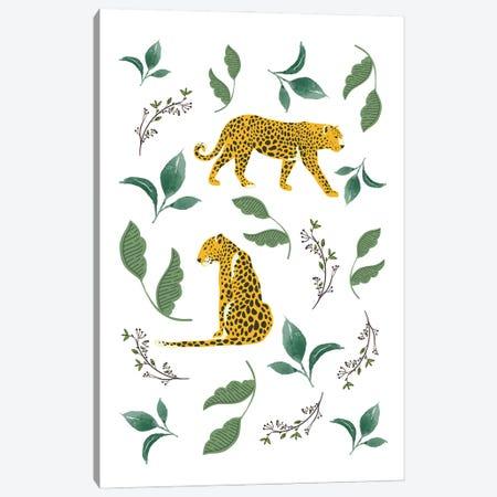 Vintage Leopards In Jungle Leaves Canvas Print #DHV28} by Design Harvest Canvas Artwork