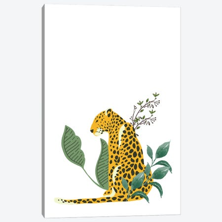 Vintage Leopard Hiding In Leaves Canvas Print #DHV29} by Design Harvest Canvas Art