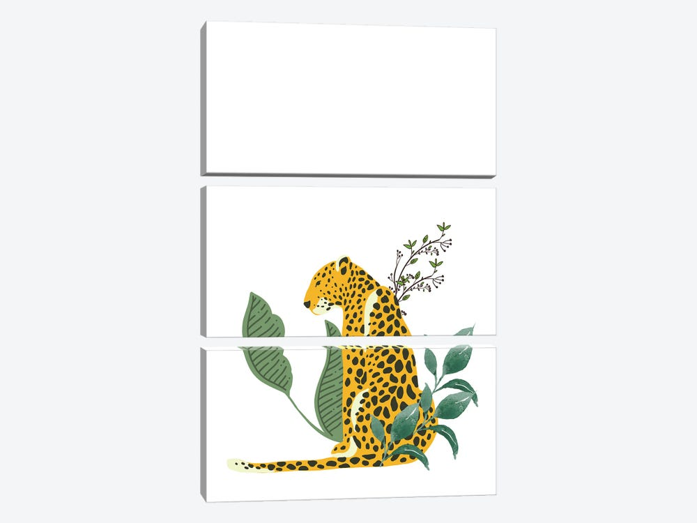 Vintage Leopard Hiding In Leaves by Design Harvest 3-piece Canvas Artwork