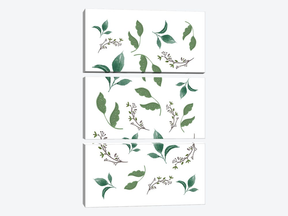 Jungle Leaves And Botanical Pattern by Design Harvest 3-piece Canvas Wall Art