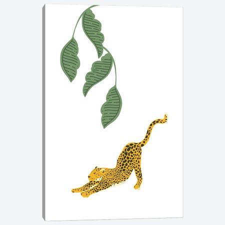 Vintage Leopard Stretching Under Jungle Leaves Canvas Print #DHV31} by Design Harvest Canvas Art Print