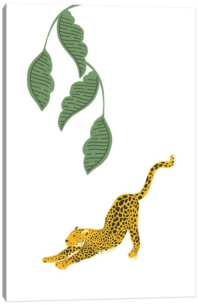Vintage Leopard Stretching Under Jungle Leaves Canvas Art Print
