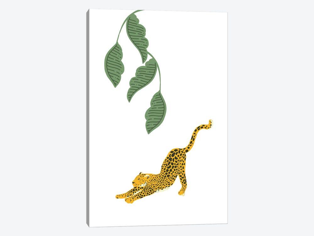 Vintage Leopard Stretching Under Jungle Leaves by Design Harvest 1-piece Canvas Print