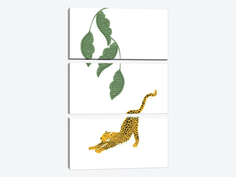 Vintage Leopard Stretching Under Jungle Leaves by Design Harvest 3-piece Art Print
