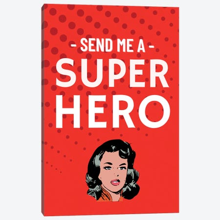 Send Me A Superhero Comic In Red Canvas Print #DHV32} by Design Harvest Art Print