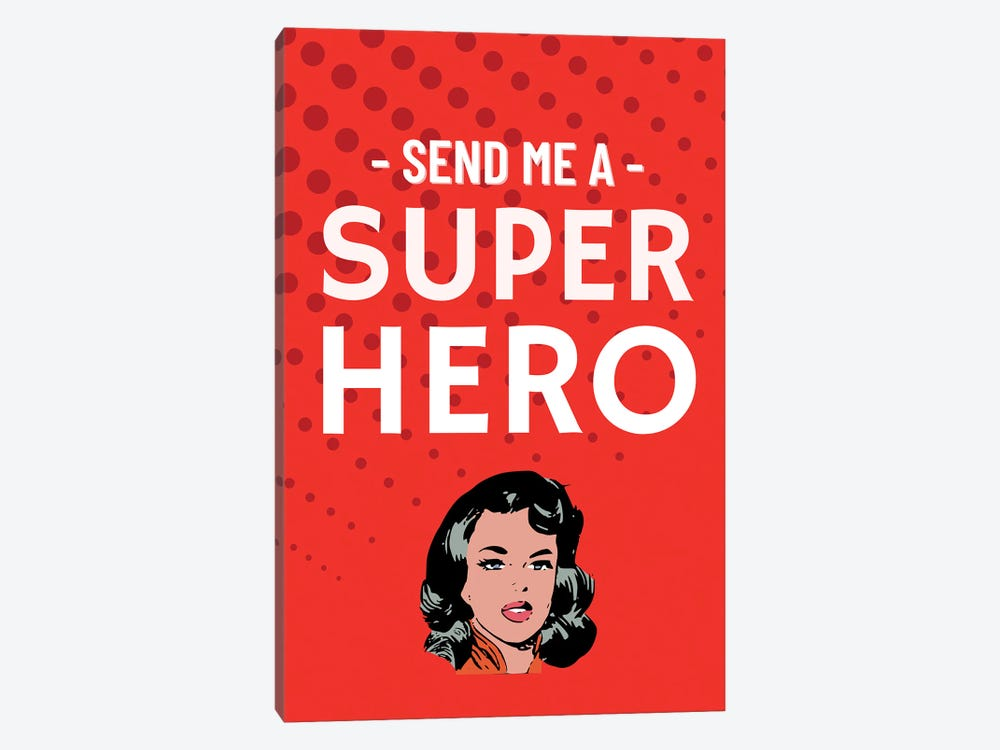 Send Me A Superhero Comic In Red by Design Harvest 1-piece Canvas Wall Art