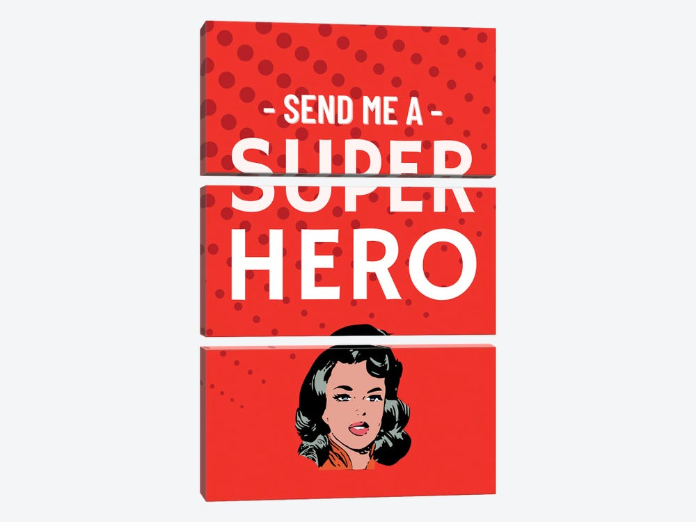 Send Me A Superhero Comic In Red by Design Harvest 3-piece Canvas Wall Art