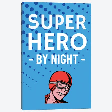Superhero By Night Comic In Blue Canvas Print #DHV33} by Design Harvest Canvas Art Print