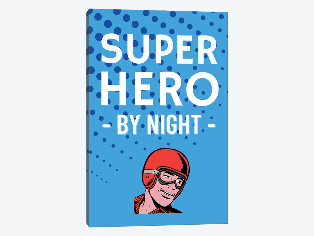 Superhero By Night Comic In Blue by Design Harvest 1-piece Canvas Print