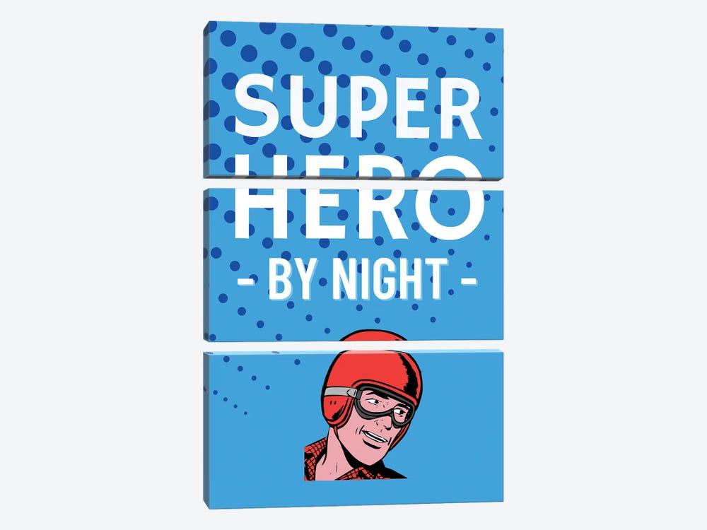Superhero By Night Comic In Blue by Design Harvest 3-piece Art Print