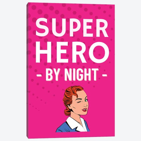 Superhero By Night Comic In Pink Canvas Print #DHV34} by Design Harvest Canvas Wall Art