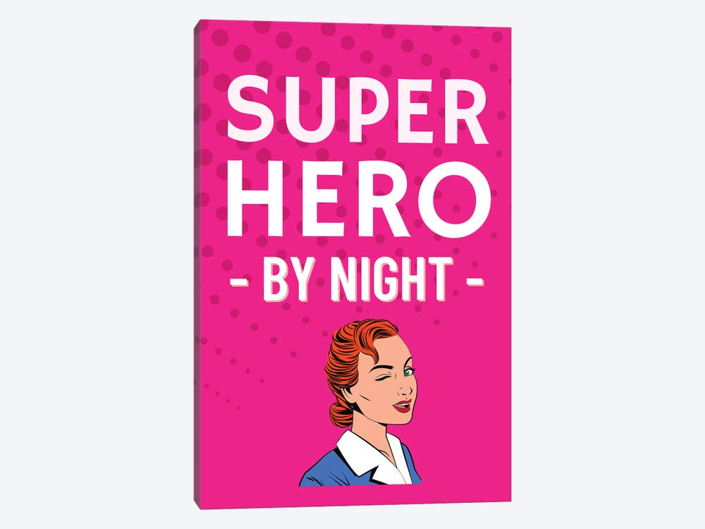 Superhero By Night Comic In Pink by Design Harvest 1-piece Canvas Artwork