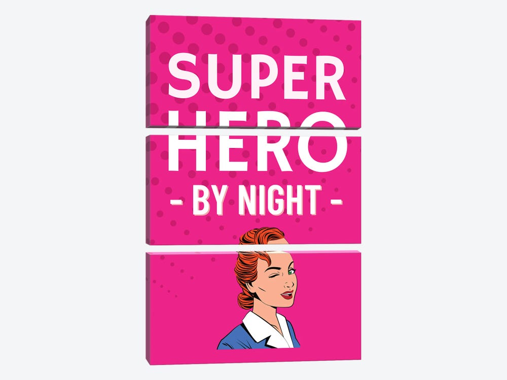 Superhero By Night Comic In Pink by Design Harvest 3-piece Canvas Artwork