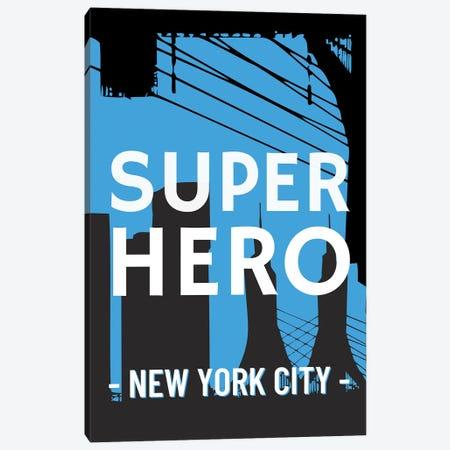 Superhero New York City Comic Canvas Print #DHV35} by Design Harvest Canvas Wall Art