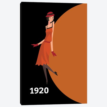 Art Deco 1920 With Gatsby Flapper Girl Canvas Print #DHV37} by Design Harvest Canvas Artwork