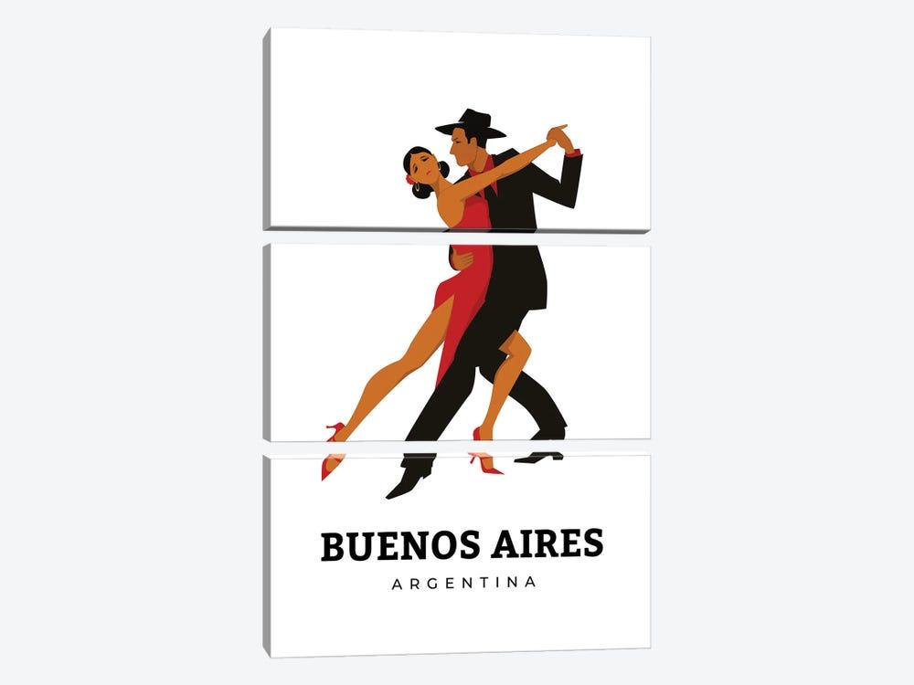 Art Deco Tango Dances Of Buenos Aires Argentina by Design Harvest 3-piece Canvas Wall Art